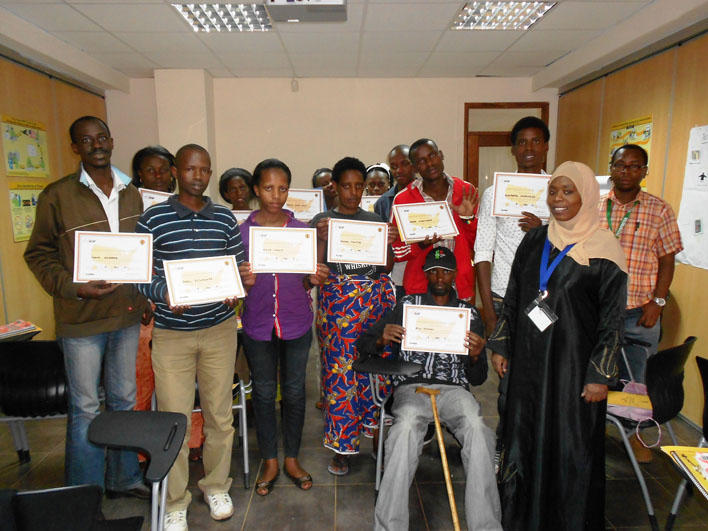 Congolese class in Nairobi holding CO certificates