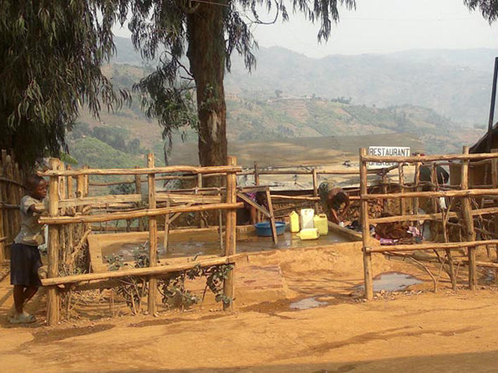 Water collection point in Kiziba Refugee Camp in Rwanda