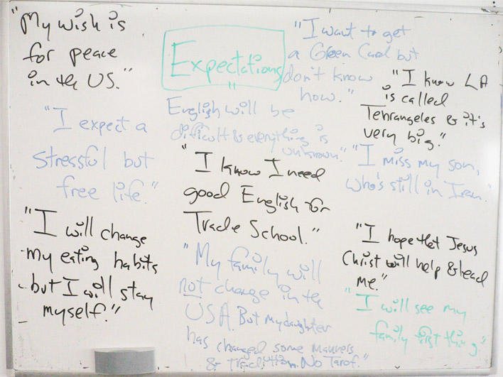 Expectations on whiteboard