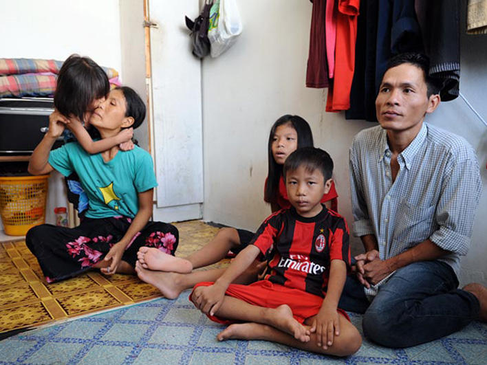 Refugee family at home