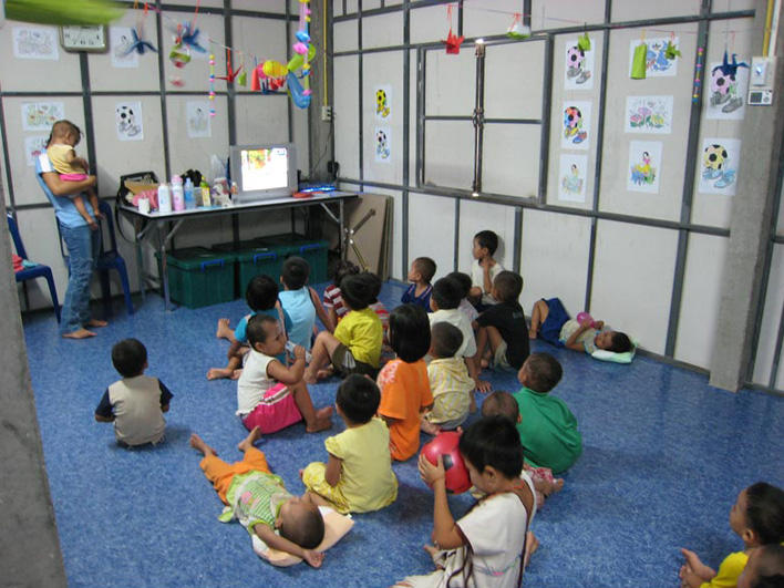 Child care at the Mae Sot Refugee Processing Center
