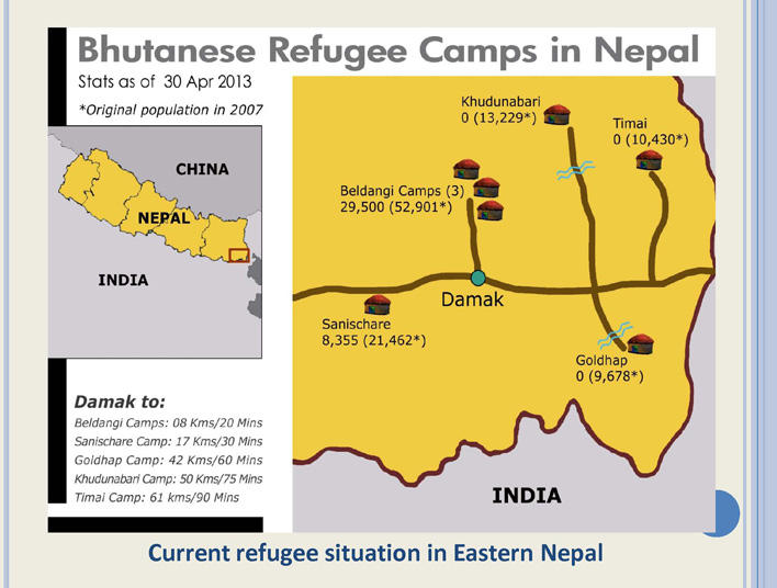 Map of Bhutanese refugee camps in eastern Nepal